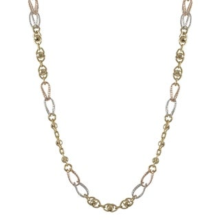 Luxiro Tri-tone Goldplated Silver Disco Ball Link Necklace