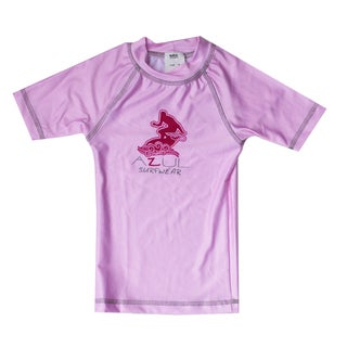 Azul Swimwear Short Sleeve Pink Solid Rashguard