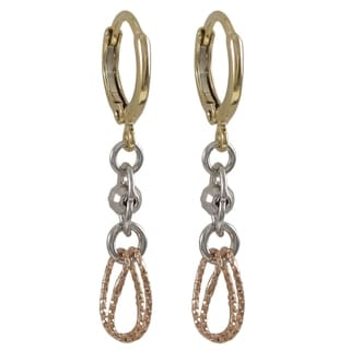 Luxiro Gold Finish Tri Color Disco Ball Hoop Dangle Earrings