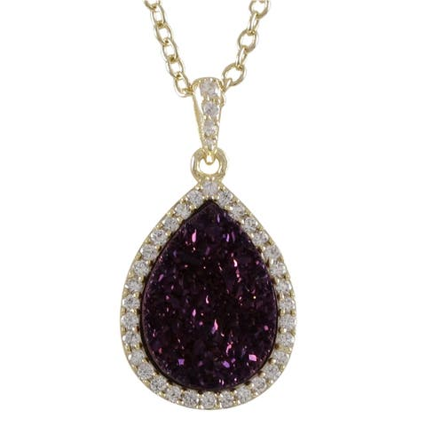 Luxiro Sterling Silver Druzy Quartz and Cubic Zirconia Teardrop Halo Pendant Necklace