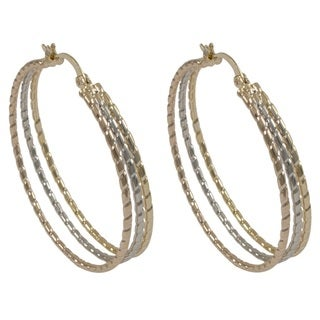Luxiro Gold Finish Tri Color Triple Coil Hoop Earrings