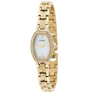 Pulsar Women's 'Crystal' Yellow Gold Tone Stainless Steel and Crystals Watch
