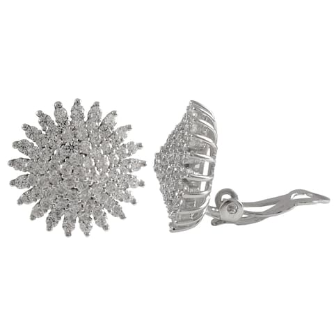 Luxiro Sterling Silver Cubic Zirconia Cluster Starburst Circle Clip-on Earrings