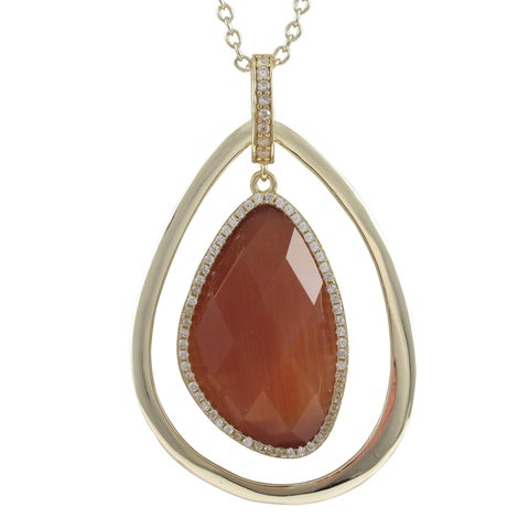 Luxiro Sterling Silver Gold Finish Semi Precious and Cubic Zirconia Floating Teardrop Pendant Necklace