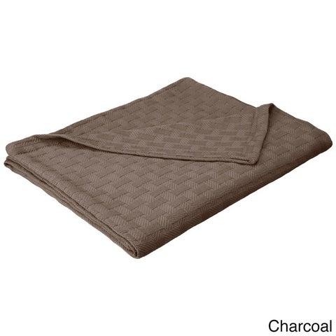 Superior All-Season Luxurious 100-percent Cotton Basket Weave Blanket