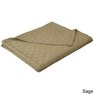 Superior All-Season Luxurious 100-percent Cotton Basket Weave Blanket (More options available)