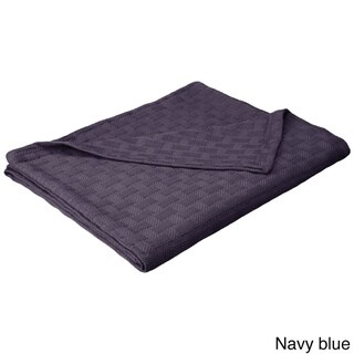 Superior All-season Luxurious Cotton Basket Weave Blanket