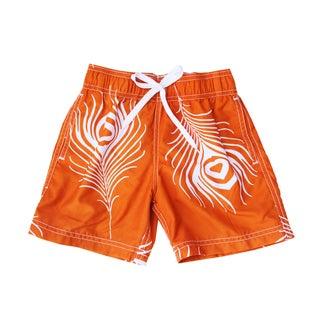 Azul Swimwear Boys Feather Print Orange Swim Shorts