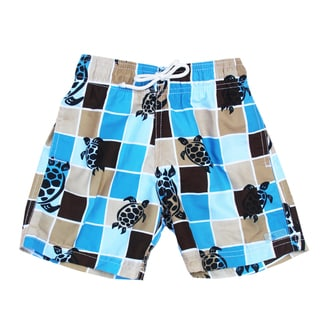 Azul Swimwear Boys 'Turtle Grid' Blue Swim Shorts