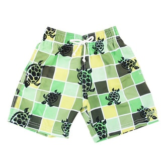 Azul Swimwear Boys 'Turtle Grid' Green Swim Shorts