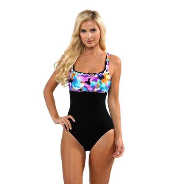 a5e97f2540e Profile by Gottex Women's Multicolored Pixel Full Figure Swimsuit