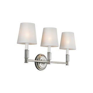 3-light Lismore Polished Nickel Vanity Strip