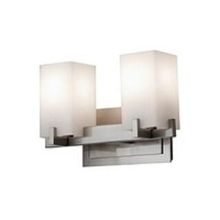 Riva Brushed Steel 2-light Vanity Fixture