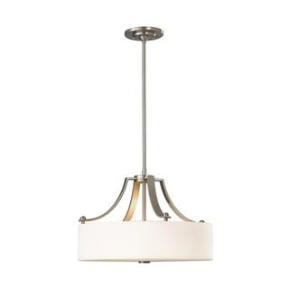 Uplight Chandelier Brushed Steel 3-light Pendant