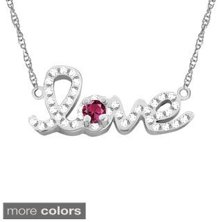 10k Gold Designer 'Love' Cubic Zirconia Accent Birthstone Necklace