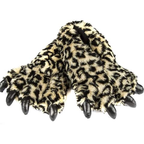 Leisureland Unisex Bear Paw Khaki Fuzzy Leopard Design Slippers