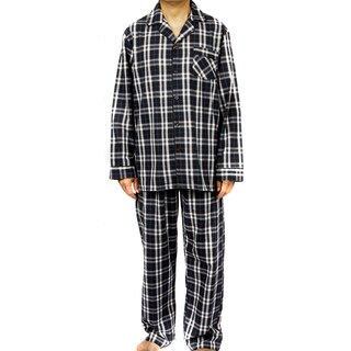 Leisureland Men's Blue 100-percent Cotton Poplin Plaid Pajama Set