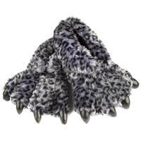 Leisureland Unisex Bear Paw Gray Fuzzy Leopard Design Slippers