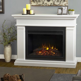 Real Flame Kennedy White 55.5 in. L x 15.5 in. D x 43.25 in. H Grand Electric Fireplace