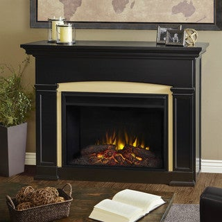 Real Flame Holbrook Grand Black Finish 58.5 in. L x 16.875 in. D x 42.875 in. H Electric Fireplace