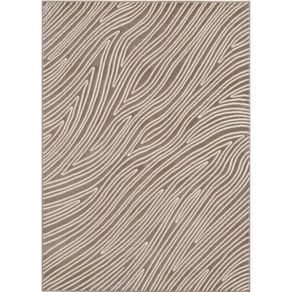 Loft Modern Bark Design Taupe Rug (7'10 x 10')