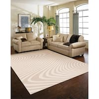 Loft Modern Wavy Stripe Cream Rug (7'10 x 10')