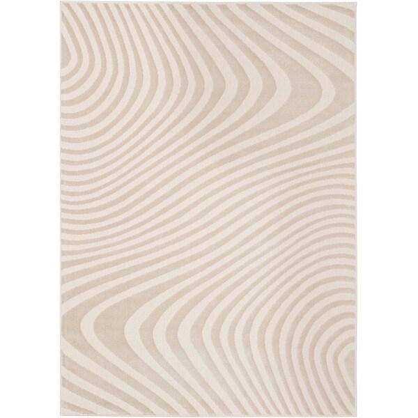 Loft Modern Wavy Stripe Cream Rug - 5'3 x 7'4