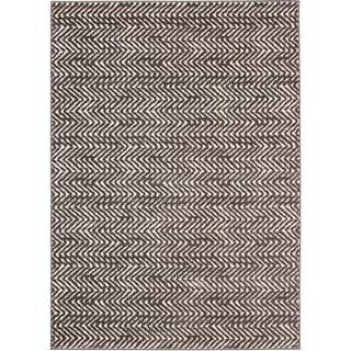 "Loft Modern Chevron Stripe Grey/ Cream Polypropylene Rug (7'10 x 10') - 7'10"" x 10'"