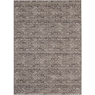 Loft Modern Chevron Stripe Grey/ Cream Polypropylene Rug (7'10 x 10')