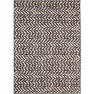Loft Modern Chevron Stripe Grey/ Cream Polypropylene Rug (7'10 x 10')
