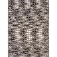 Loft Modern Chevron Stripe Grey/ Cream Polypropylene Rug - 7'10 x 10'