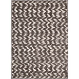 Loft Modern Chevron Stripe Grey and Cream Polypropylene Rug (5'3 x 7'4)