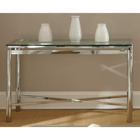 Strick & Bolton Jules Chrome and Glass Sofa Table