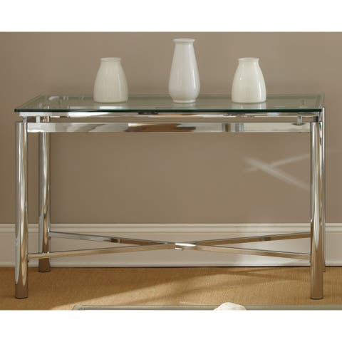 "Strick & Bolton Jules Chrome and Glass Sofa Table - 48""W x 18""D x 30.25""H"