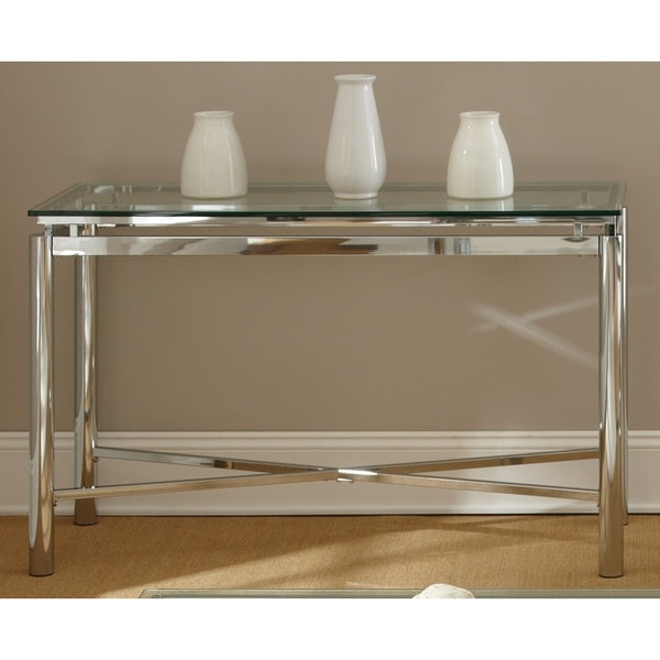 Greyson Living Natal Chrome And Glass Sofa Table Free