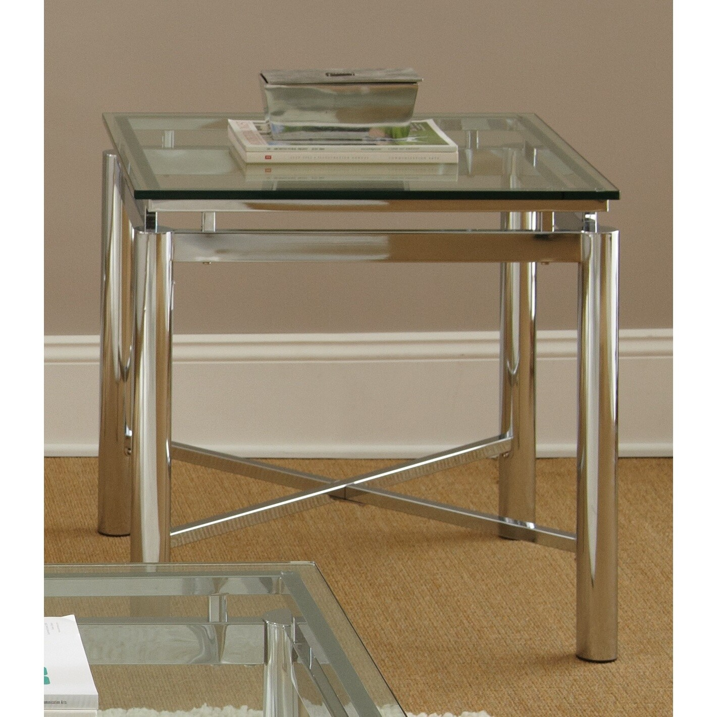 Shop Greyson Living Natal Chrome And Glass End Table