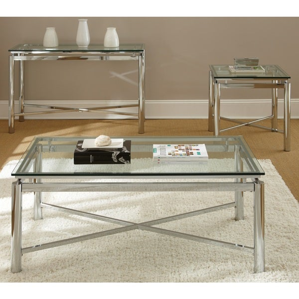Natal Chrome And Glass Coffee Table By Greyson Living   Free Shipping Today    Overstock.com   16850626