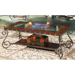 Copper Grove Swinley Elegant Glass Insert Coffee Table