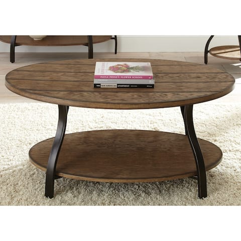 """The Gray Barn Abernathy Oval Wood and Metal Coffee Table - 21""""H x 47""""W x 31""""D"""