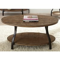 The Gray Barn Abernathy Oval Wood and Metal Coffee Table