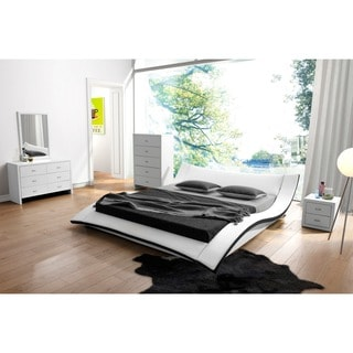 Riley White Faux Leather Contemporary Bed