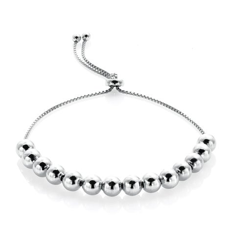 Mondevio Sterling Silver Slider Bead Bolo Adjustable Bracelet