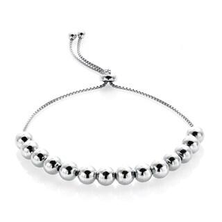 Mondevio Sterling Silver Slider Bead Bracelet (Option: White)