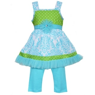 Ann Loren Boutique Girls Blue Damask & Green Polka Dot Dress with Capri Leggings 2 piece outfit