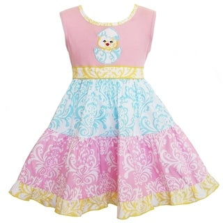 AnnLoren Boutique Girls Chicky Pastel Damask Easter Dress