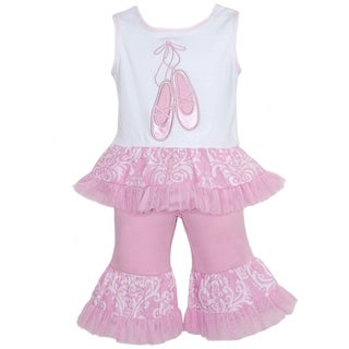 AnnLoren Boutique Girls Damask and Tulle Ballet Slipper 2-piece Outfit