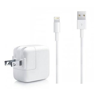 Apple OEM USB 3.5 FT Lightning Cable Power Cord + 12W Wall Charger for Apple iPad Air iPhone 5, 5C,
