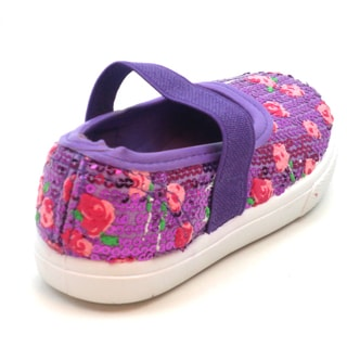 Blue Girls 'K-Jora' Floral and Sequin Mary Jane Flats
