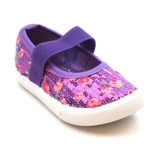 Blue Girls 'K-Jora' Floral and Sequin Mary Jane Flats (More options available)