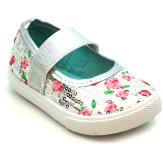Blue Girls 'K-Jora' Floral and Sequin Mary Jane Flats (2 options available)
